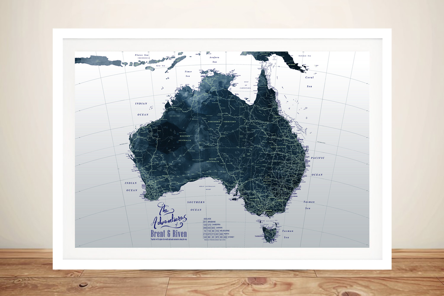 Framed Detailed Map of Australia in Dark Tones | Dark Tones Detailed Australia Map