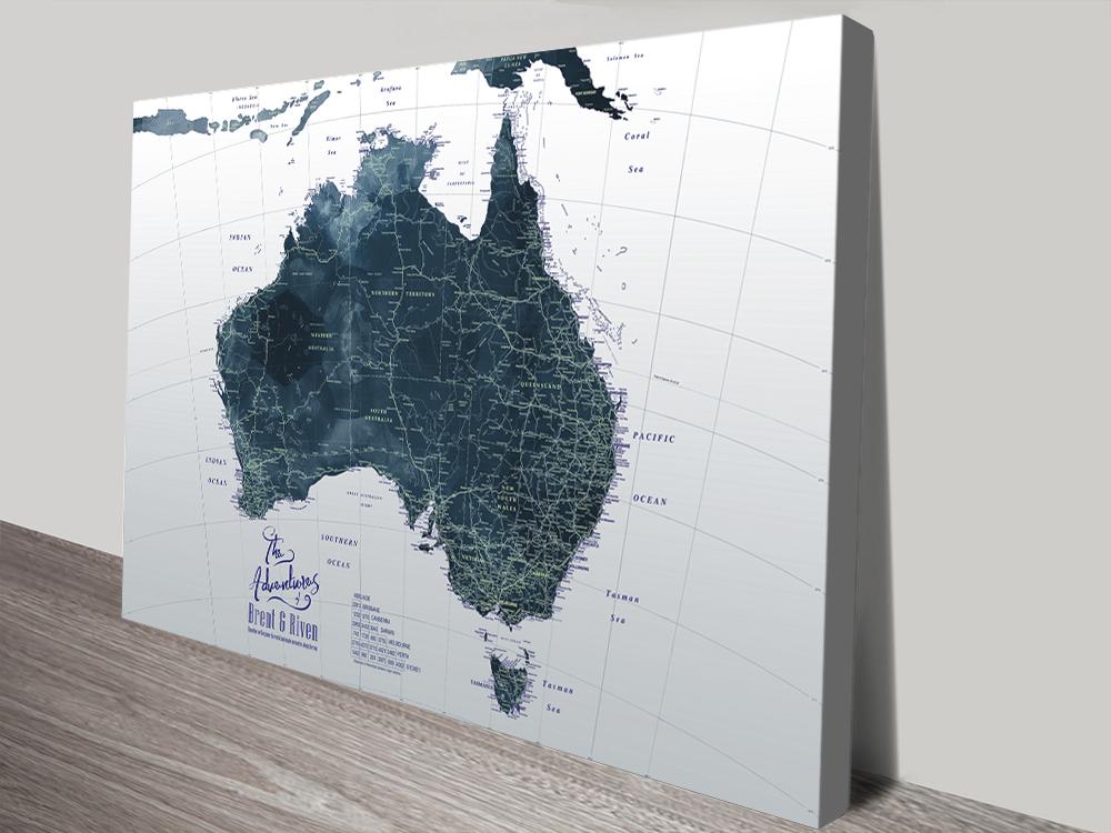 Custom Canvas Detailed Maps Wedding Gift Ideas AU