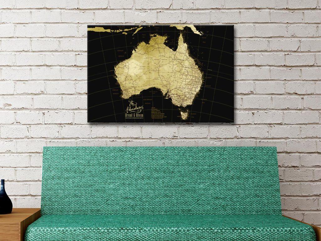 Black & Gold Map Romantic Gift Ideas AU