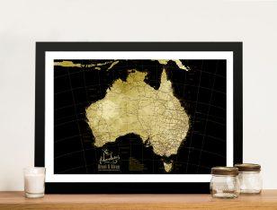 Canvas Custom Map Art in Black & Gold