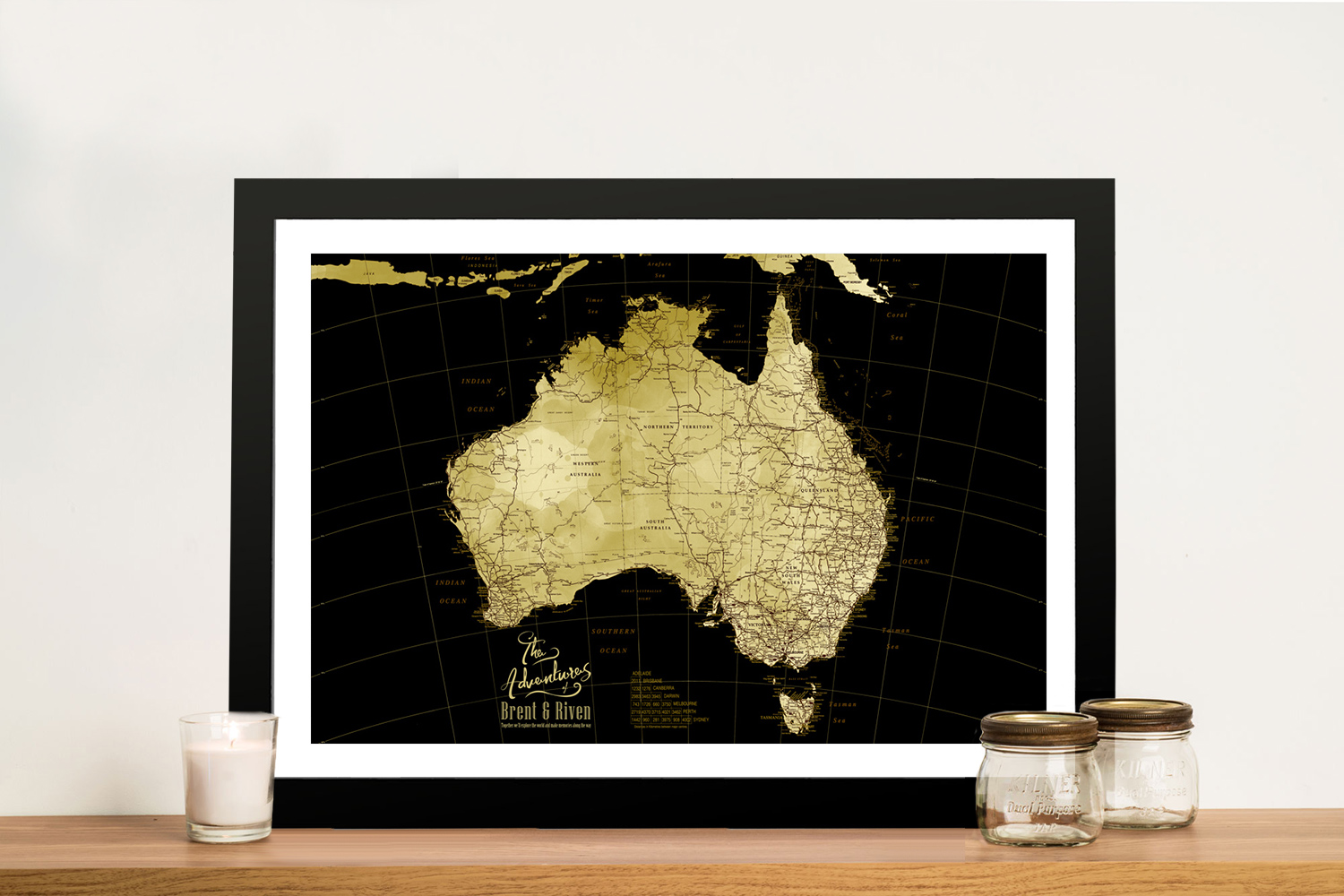 Canvas Custom Map Art in Black & Gold | Black & Gold Detailed Australia Map