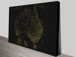 Custom Gold & Black Detailed Map Wall Art