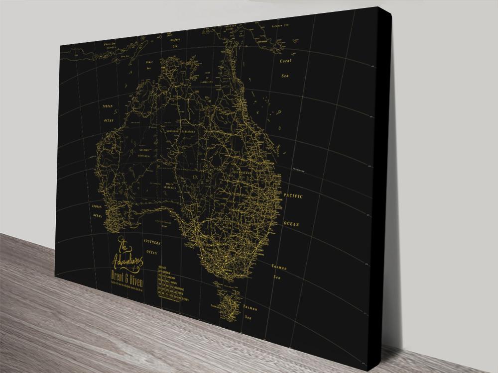 Custom Gold & Black Detailed Map Wall Art | Gold & Black Detailed Australia Map