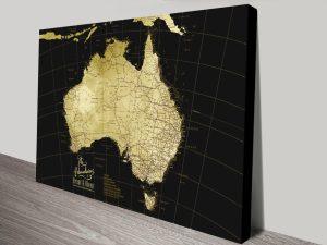 Black & Gold Detailed Map of Australia for Sale