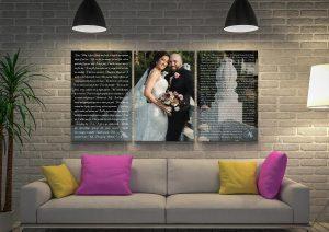 Custom Wedding Vows Overlaid Wall Art