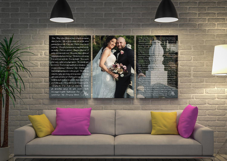 Custom Wedding Vows Overlaid Wall Art | Wedding Vows Art Triptych Version 4