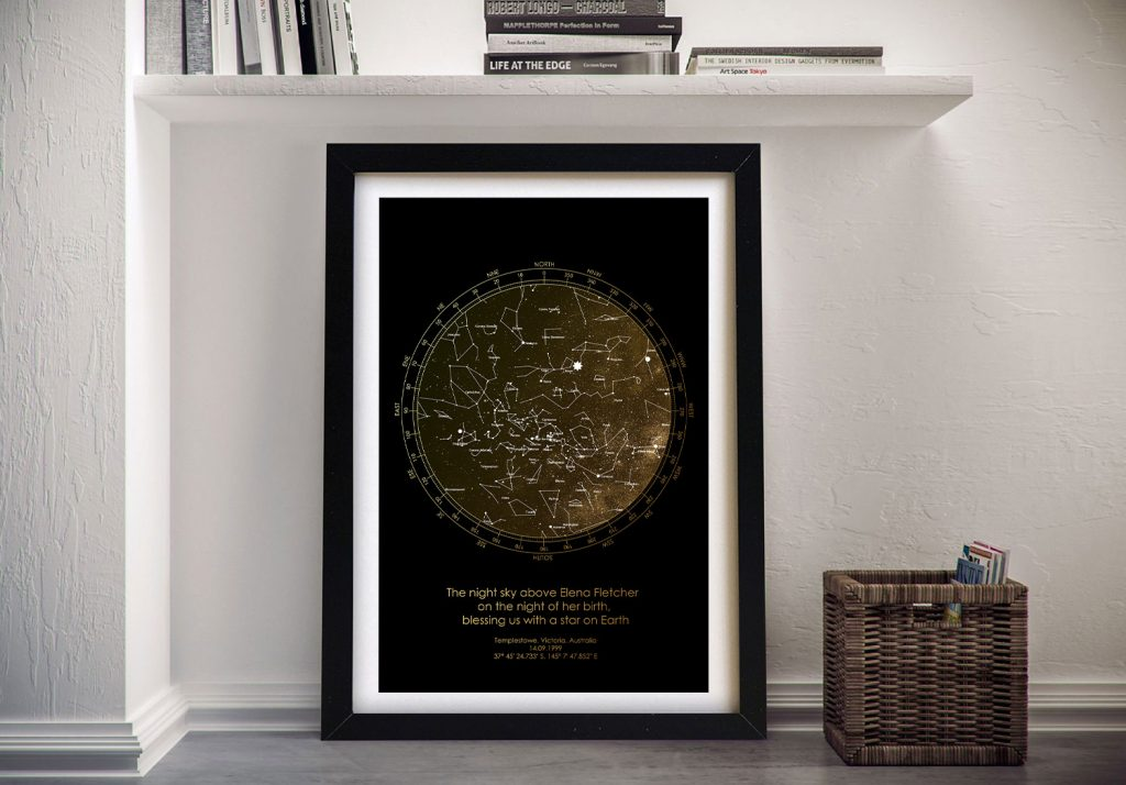 Bronze Custom Star Map Framed Wall Art