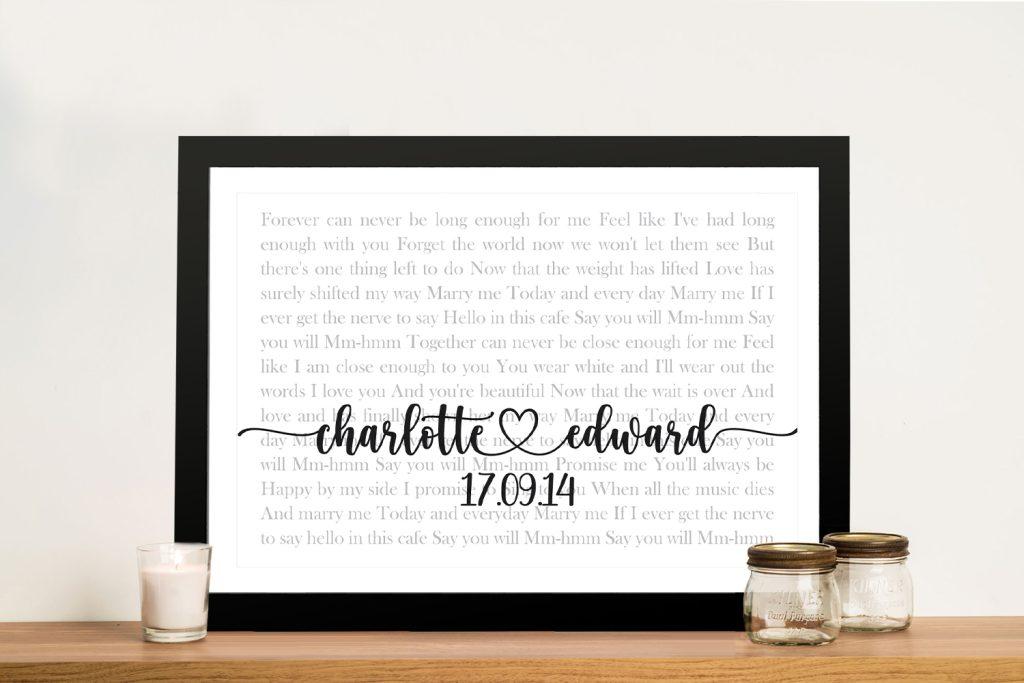 Wedding First Dance Song Lyrics Custom Art