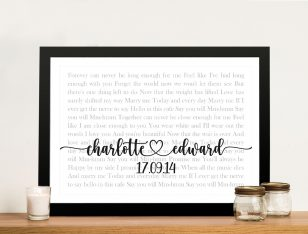 Wedding First Dance Song Lyrics Custom Art