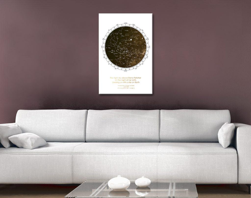 Ready to Hang Bronze Custom Star Map Art