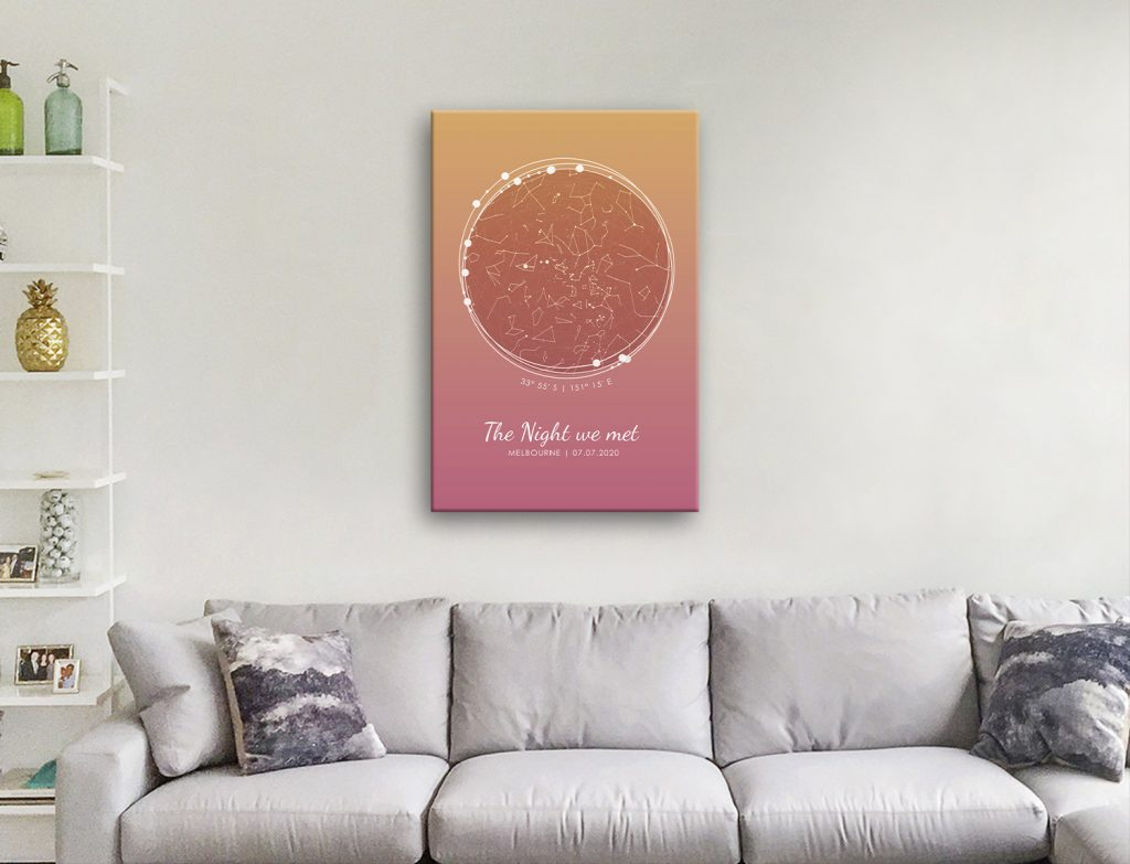 Personalised Sunset Tones Star Chart for Sale