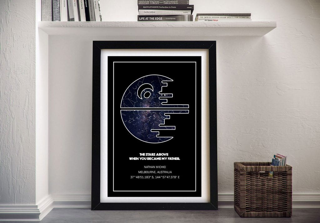 Death Star Framed Star Map Unique Custom Gifts