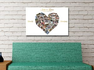 Heart Shapes Photo Collage Canvas Print