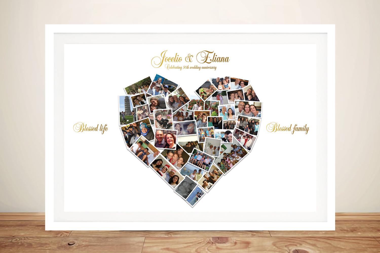 Custom Heart Shaped Photo Art | Heart Shaped Photo Collage & Text