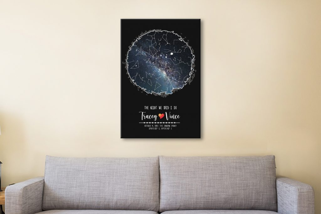 Love in the Sky Above Star Map Bespoke Gifts AU