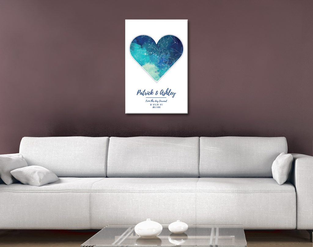 Watercolour Heart Star Map Affordable Bespoke Art