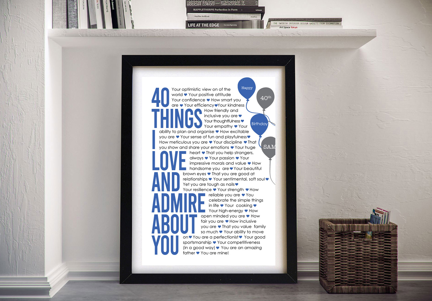 All About You Celebration Wall Art in Blue | All About You Bespoke Art in Blue