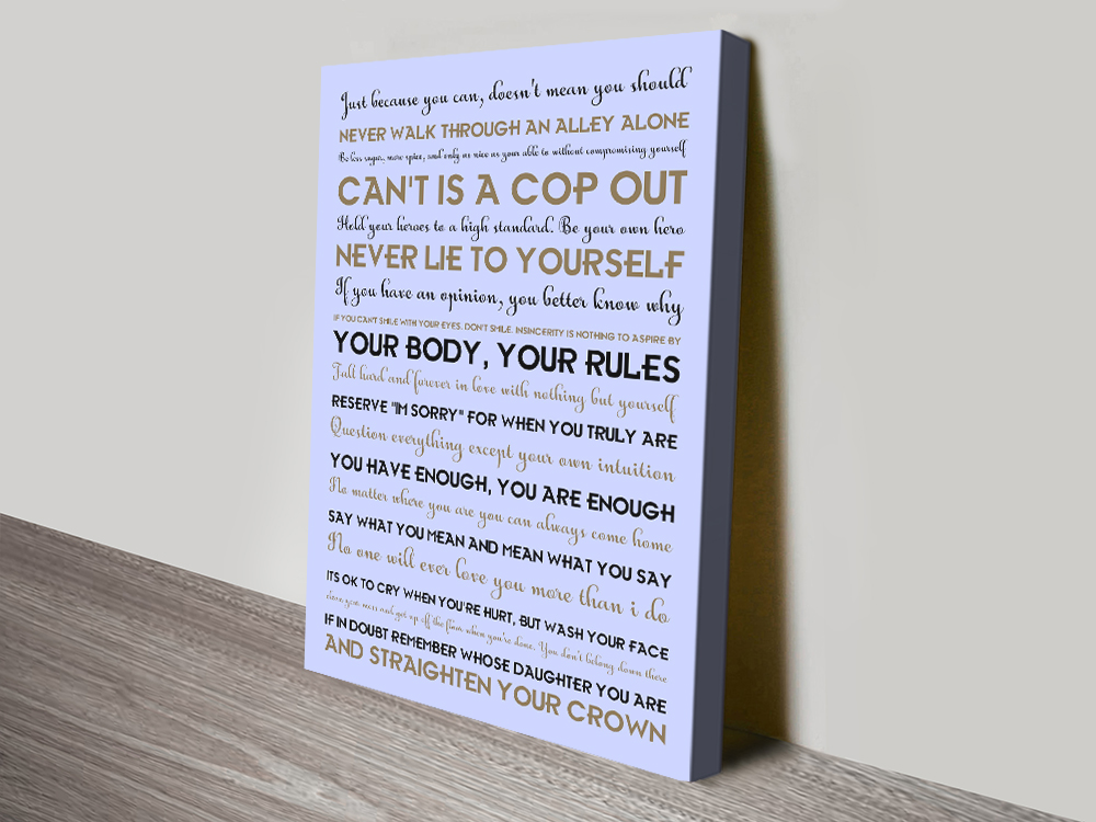 Buy a Rules for Life Custom Print on Canvas