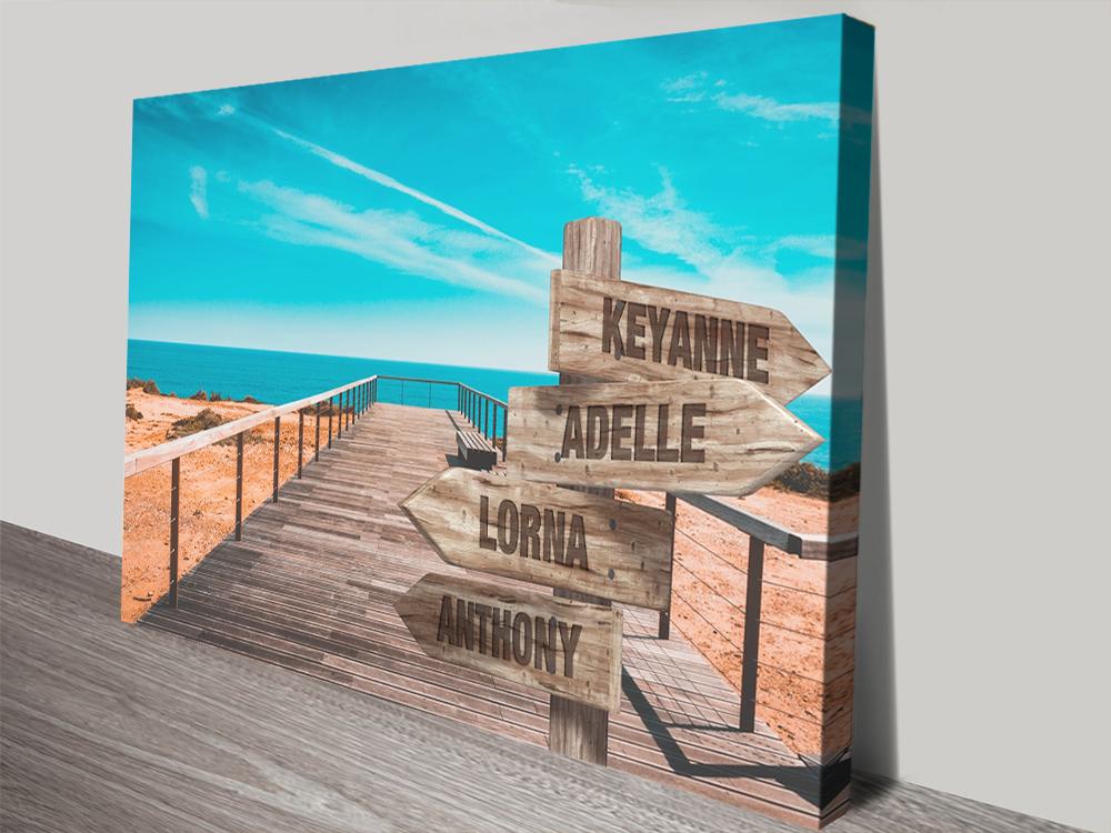 Custom Signpost Canvas Prints | Retro Ocean Walkway Signpost
