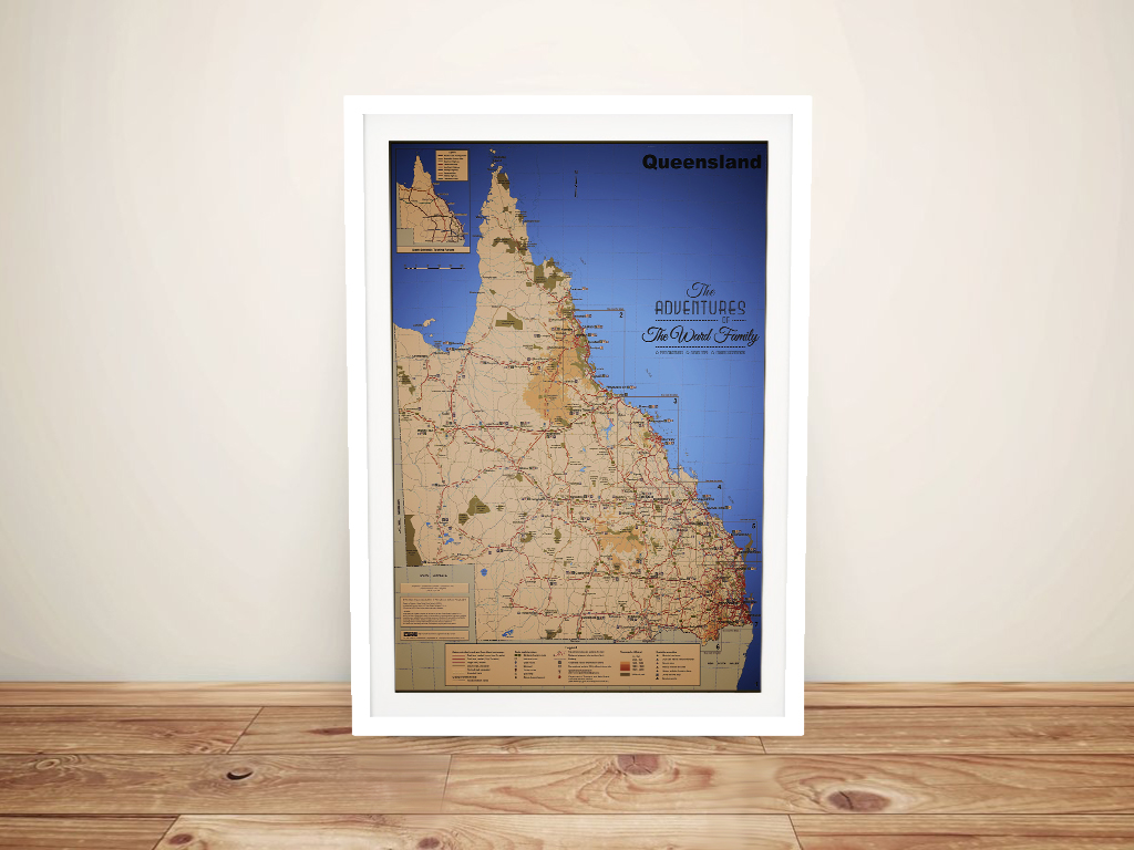 Buy a Framed Detailed Map of Queensland | Custom Topographic Map of Queensland