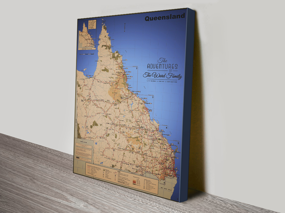 Stretched Canvas Bespoke Maps for Sale