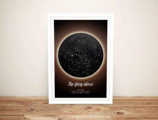 Solar Eclipse Framed Bespoke Star Map