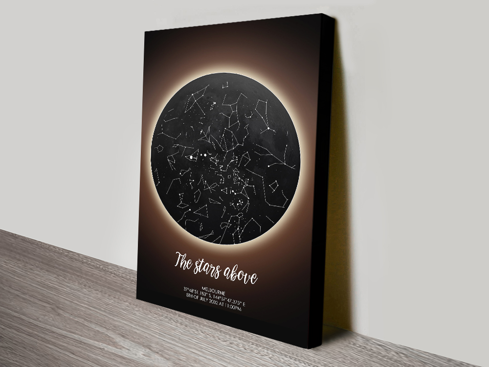 Solar Eclipse Stretched Canvas Star Map Art
