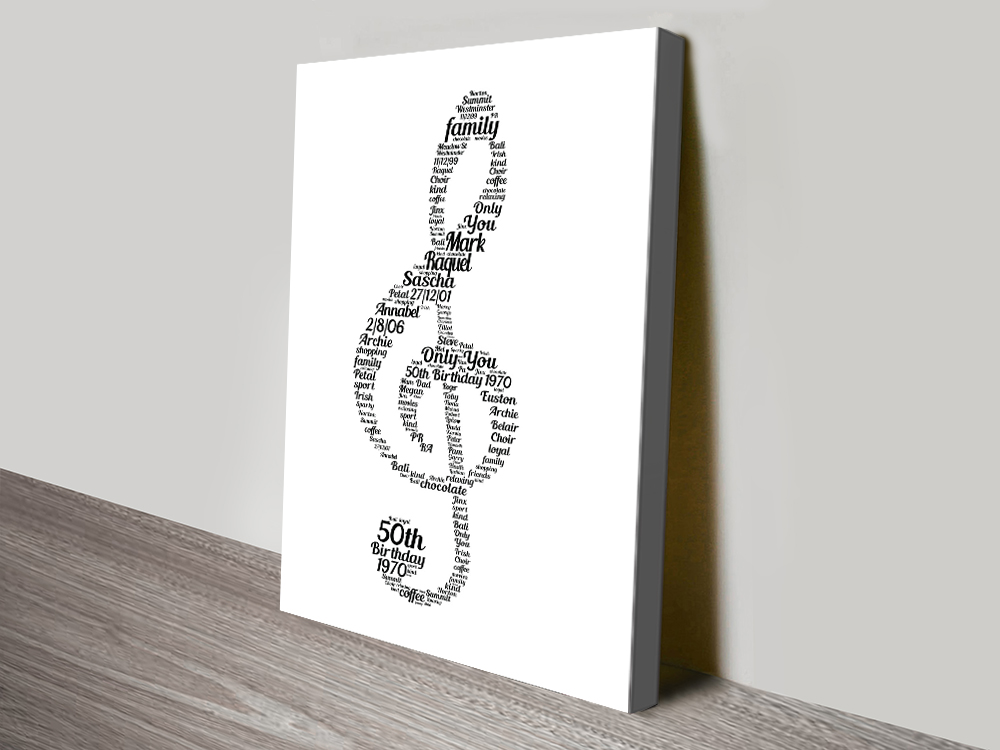 Musical Note Bespoke Print on Canvas | Musical Note Typographic Art