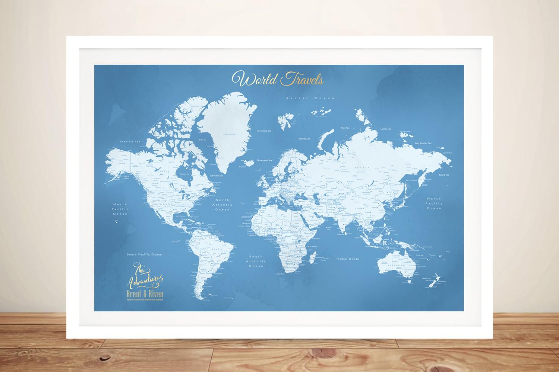 Framed World Map Art in Powder Blue | Powder Blue Pushpin World Map