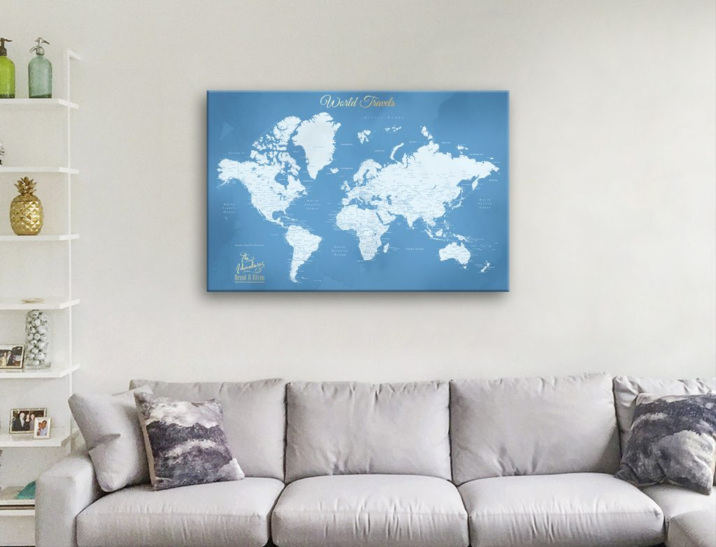 Push Pin World Map Art in a Variety of Colours