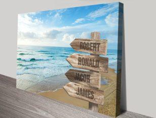 Beach Signpost Custom Art on Canvas