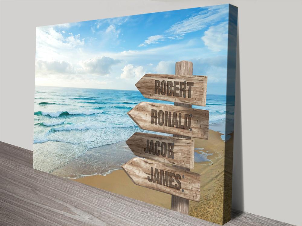 Beach Signpost Custom Art on Canvas | Retro Shore Signpost Art