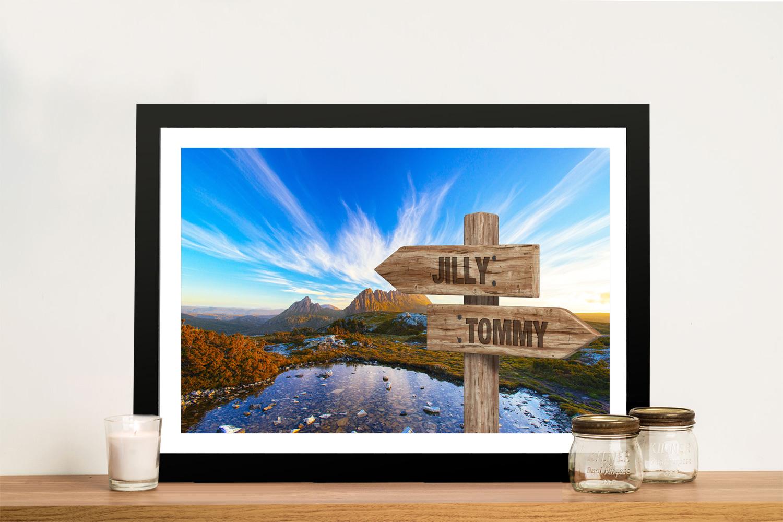 Buy a Cradle Mountain Custom Signpost Print | Cradle Mountain Retro Signpost Art