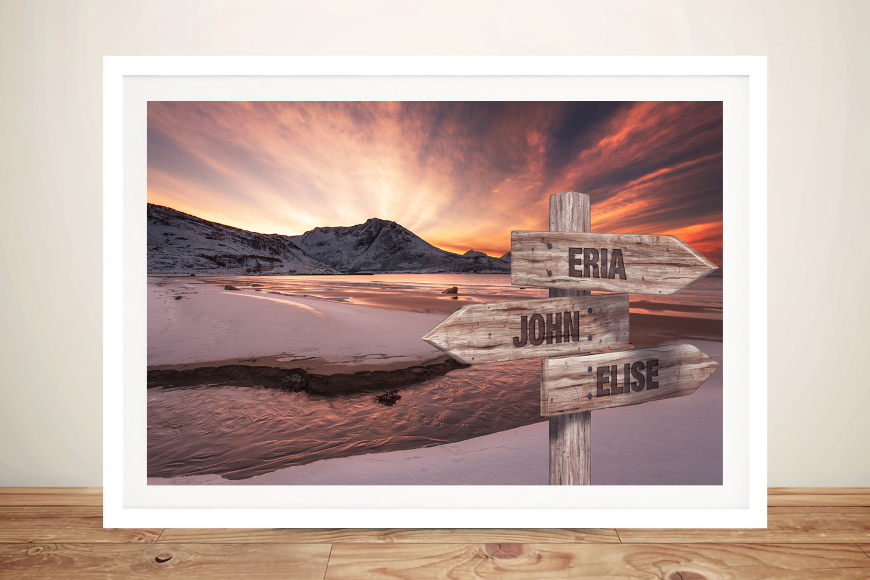 Dawn Beach Framed Custom Signpost Art | Dawn Beach Signpost Art