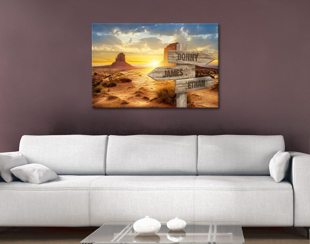 Desert Sunset Signpost Canvas Prints Online