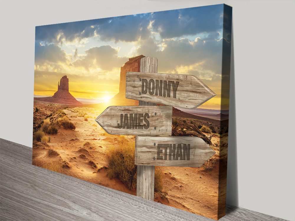 Desert Sunset Retro Bespoke Wall Art | Desert Sunset Signpost Retro Art