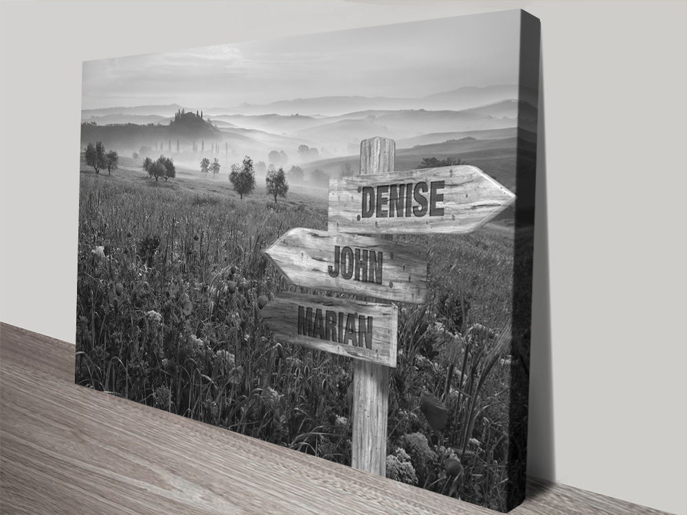 Flower Field Signpost Retro Art Cheap Online