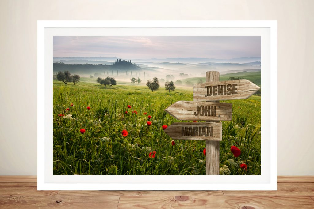 Framed Flower Field Canvas Custom Art