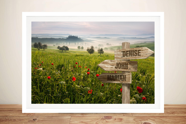 Framed Flower Field Canvas Custom Art | Retro Flower Field Signpost Art