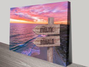Guilderton Sunset Bespoke Signpost Print