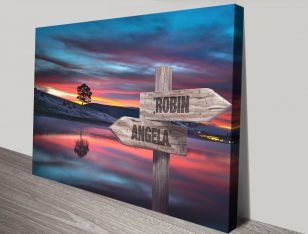 Lone Tree Stretched Canvas Signpost Print