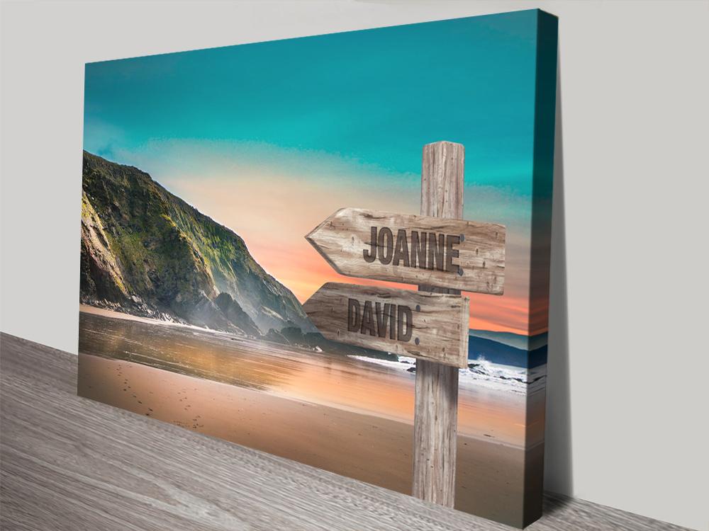 Buy Beach Mountain Signpost Print on Canvas | Mountain Beach Retro Signpost Art