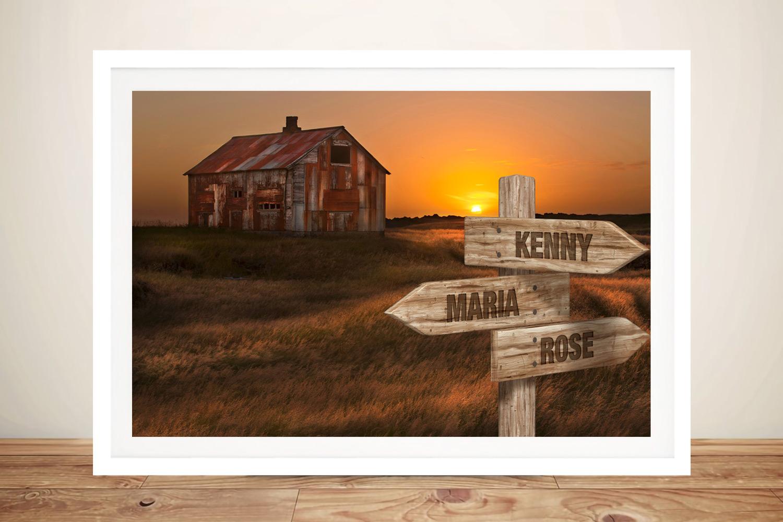 Old House Framed Custom Print on Canvas | Old House Retro Signpost Art