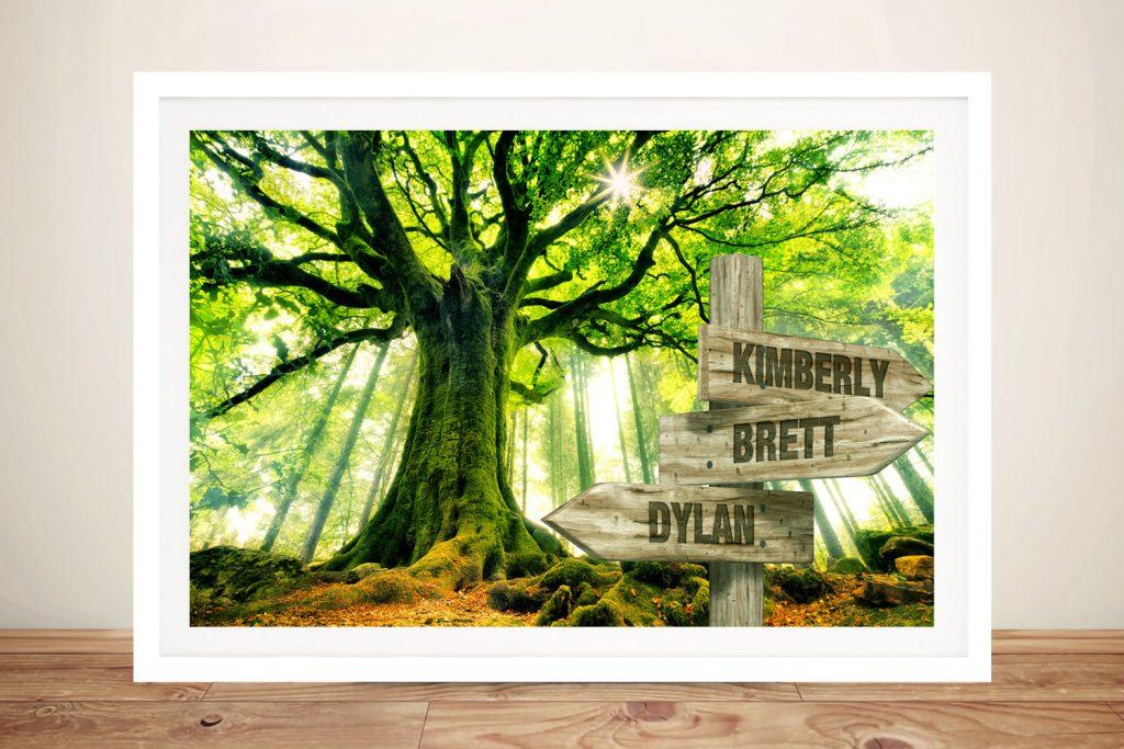 Framed Rising Green Retro Signpost Print