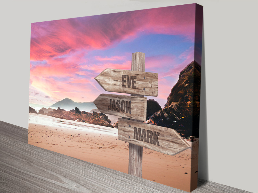 Buy Rose Sunset Signpost Print on Canvas | Rose Sunset Retro Signpost Art