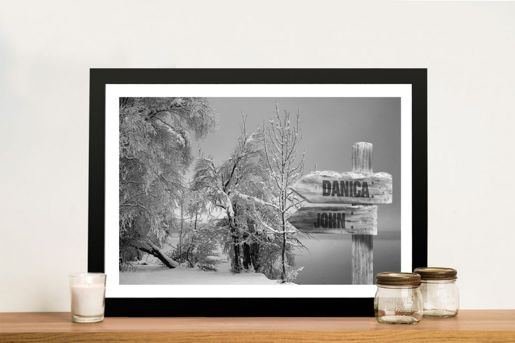 Stunning Retro Snow Fields Black & White Art