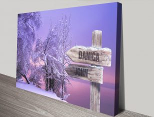 Snow Fields Stretched Canvas Signpost Art