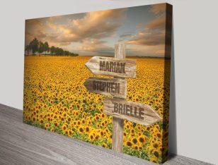 Sunflower Field Retro Bespoke Canvas Art