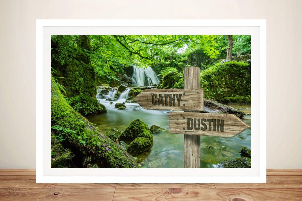 Framed Forest Waterfalls Signpost Custom Print