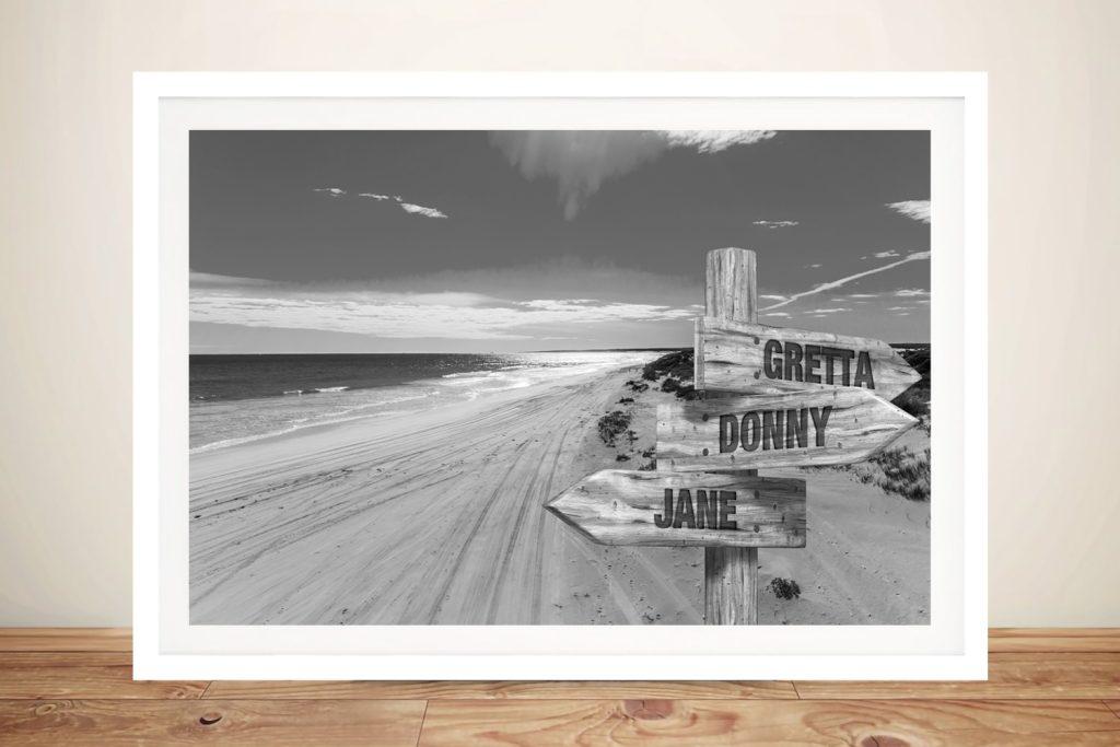 Wedge Beach Black & White Custom Art AU